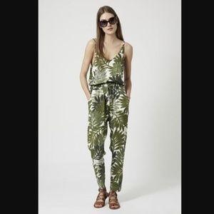 Topshop Jungle Palm Tropical Green Print Jumpsuit